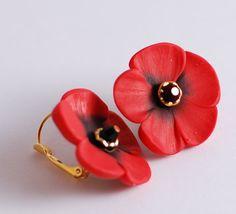 Red poppy leaver back earrings by Rotdaris on Etsy, $16.00