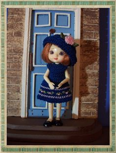 Amelia Thimble Dark Wedgewood Blue and Pink dress with Bowler hat