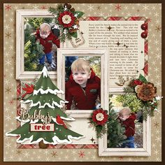 Bubby's Tree digital scrapbooking layout by Ginny Whitcomb featuring December Memories Collections Christmas Scrapbook Layouts, Birthday Scrapbook, Digital Scrapbooking Layouts, Scrapbook Page Layouts, Baby Scrapbook, Christmas Layout, Picture Scrapbook, Scrapbook Examples, Scrapbook Designs
