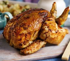 This recipe for Moroccan-spiced roast chicken is a feast for the senses - succulent roast chicken with Middle Eastern flavours of paprika, cumin and cinnamon. | Tesco