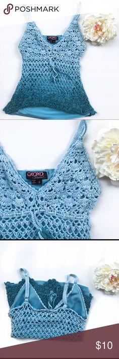 Blue Ombré Crochet Top Super cute blue ombré tank top in size small. GUC XOXO Tops Tank Tops