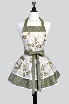 Womens Ruffled Retro Apron - Ivory Olive Green Hydrangea Floral Vintage Style Pinup Kitchen Apron with Pocket to Personalize or Monogram. Aprons by Creative Chics