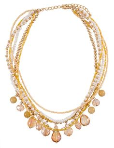 Gold Beaded Layer Necklace | $12 | jewelboxonline.com