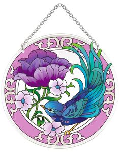 Suncatcher-LC279R-Teal Swallow with Purple Peony - Teal Swallow with Purple Peony
