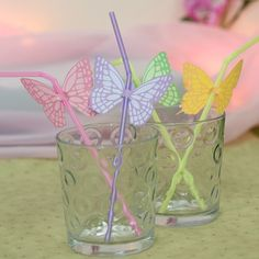 Butterfly Straw Tags - PDF template available for just £0.49 here http://www.partyideasuk.co.uk/library/party-themes/fairy-party-ideas/fairy-straw-tags.aspx