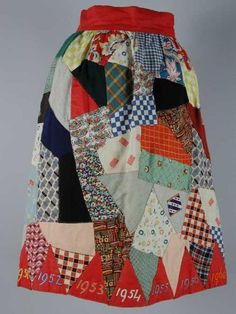 "Dates from 1945 to 1960 around hem. ""National festive skirt"" - this kind of patchwork seems to be A Thing. Quilted Clothes, Patchwork Jeans, Crazy Patchwork, Make Do And Mend, Silk Jacket, Refashion, Vintage Sewing, Diy Clothes, Style Inspiration"