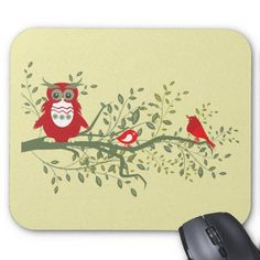 Owl ~ Wise Red Owl Sitting with Two Songbirds Mouse Pad #Owl #Mousepads Shirts,Mugs,Hats,Cards,Keychains,Bags,Stickers,Gifts.