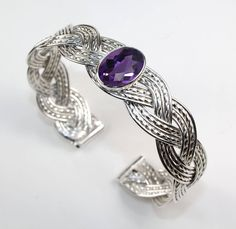 Handmade 925 Sterling Silver Three Strand Woven Cuff Bracelet with Bezel Set Checkerboard Faceted Amethyst Cabochon by WovenArtJewellery on Etsy