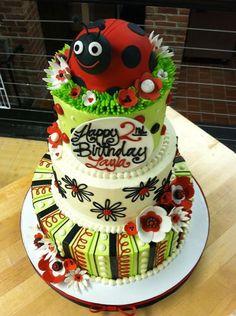 Lady Bug Cake -- White Flower Cake Shoppe would love to do for jennie birthday cake Cupcake Shops, Cupcake Cakes, Cupcakes, Teen Cakes, Girl Cakes, Buttercream Flowers, Buttercream Cake, Birthday Cake Girls, Birthday Cakes