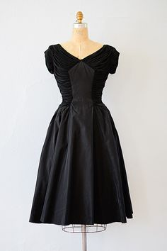 vintage 1950s black draped bodice taffeta dress