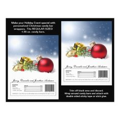 Custom Candy Bar Wrappers are great to add a personal touch to Christmas party or holiday event. These Christmas Candy Bar Wrappers feature a Christmas ornament with branches of fir, red berries, a golden gift box and a star in snow.  #Christmas  #CandyWrappers #Zazzle