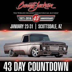 This 1962 Custom Pickup named Django really is unchained! This chopped Ford gone wild has many custom touches, including a hand-fabricated grille and cowl. Watch for it at the Anniversary Scottsdale Auction. Read more about Lot at the link. Day Countdown, Barrett Jackson Auction, Collector Cars, Pick Up, The World's Greatest, Vintage Cars, Cowl, The 100, Anniversary