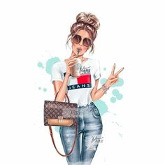 Fashion Painting, Fashion Art, Boy Fashion, Girl Cartoon, Cartoon Art, Mode Chanel, Cute Girl Drawing, Girly Drawings, Cute Girl Wallpaper