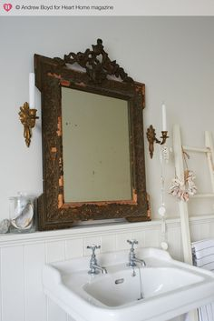 antique mirror over sink