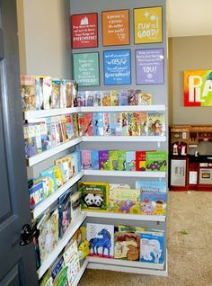 the Crafty Woman: Playroom Library -- simple DIY bookshelves. People are more likely to read, when they can see the cover of the book. -- I want to make these shelves for the boys' room, and a set for myself in my room as well.