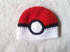 Pokemon Ball Insipired Crochet Hat Baby Beanie Baby Hats Toddler Hats Men Women - Newborn to 4T - Teen to Adult Sizes