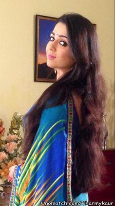 Charmy Kaur, Sari, Actresses, Indian, Long Hair Styles, Fashion, Saree, Female Actresses, Moda