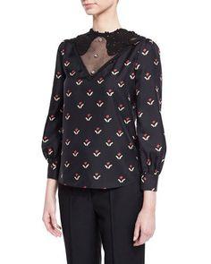W0ELL Marc Jacobs Printed Lace-Yoke Silk Blouse, Black