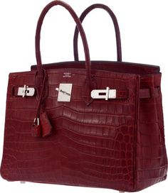 Hermes 30cm Matte Rouge H Nilo Crocodile Birkin Bag with PalladiumHardware