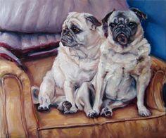 Puggies! custom Pet Portrait Oil Painting by puci