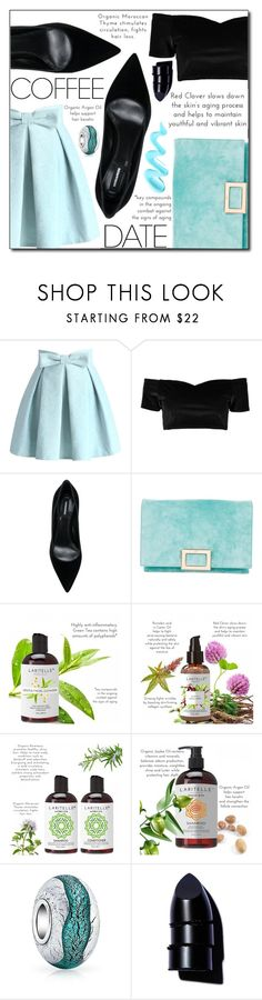 """""""Buzz-Worthy: Coffee Date"""" by loveislikeasong ❤ liked on Polyvore featuring Chicwish, Boohoo, Dsquared2, Roger Vivier, Bling Jewelry and Anastasia Beverly Hills"""