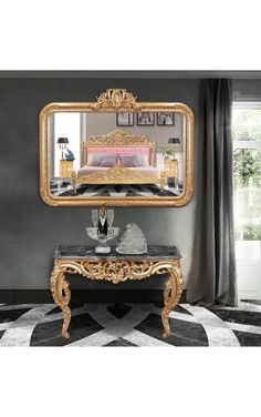 Grand miroir rectangulaire baroque de style Louis XV Rocaille