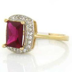 10k Yellow Gold Ruby Red CZ Ring Jewelry w CZ Accents *** You can get more details by clicking on the image.