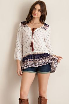 Ethnic Border Print Ruffle Blouse - Navy