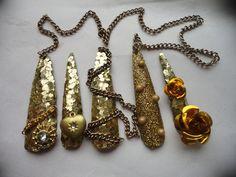 Gold Treasure Kawaii Deco Gyaru Nails by Lhouraii on Etsy