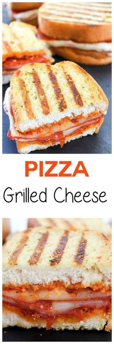 All the flavors of pizza in a SUPER easy to make grilled cheese sandwich. Tons o… All the flavors of pizza in a SUPER easy to make grilled cheese sandwich. Tons of spicy pepperoni and gooey cheese make this an irresistible lunch or dinner! I Love Food, Good Food, Yummy Food, Making Grilled Cheese, Grilled Cheeses, Grilled Pizza, Grilled Sandwich, Grilled Cheese Recipes, Grilled Cheese Rolls