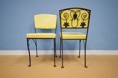 Mid Century Yellow Vintage Wrought Iron Garden by oldnewhouse, $400.00