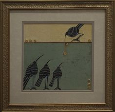 Little Blackbird's Gift by Cher Odum Gouache and Gold Leaf on Watercolor Paper Unframed: 9 in x 9 in Framed: 15 in x 15 in Cher, Gold Leaf, Gouache, Contemporary Artists, Watercolor Paper, Art Gallery, Fine Art, Amazon, Frame