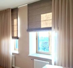 Getinte raamdecoratie Home Curtains, Curtains With Blinds, Roman Blinds, Roman Shades, House Colors, Windows, Living Room, Bedroom, Ramen