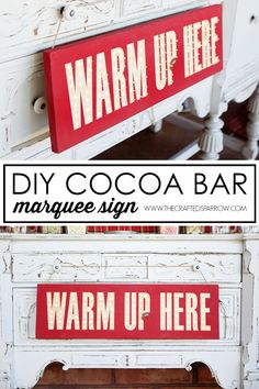 """Greet guests at your next holiday party cocoa bar with this easy DIY Cocoa Bar Marquee Sign telling them to """"Warm Up Here""""! Christmas Tea, All Things Christmas, Christmas Holidays, Christmas Crafts, Merry Christmas, Hot Chocolate Bars, Chocolate Heaven, Hot Cocoa Bar, Marquee Sign"""