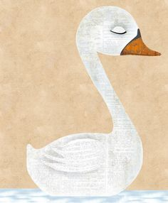 Swan Art - The Strongest Swan Art Print from my Fancy Feathered Friends series. Would Make Lovely Soothing Nursery Art With Color Choices.