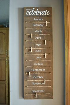 Family Celebration Wood Sign, Family Birthday Wood Sign, Classroom Birthday Tracker Wood Sign – Diy Home Decor Wood Family Wood Signs, Wooden Signs, Custom Wood Signs, Home Crafts, Diy Home Decor, Diy Crafts, Family Crafts, Diy Christmas Gifts For Family, Rustic Decorations For Home