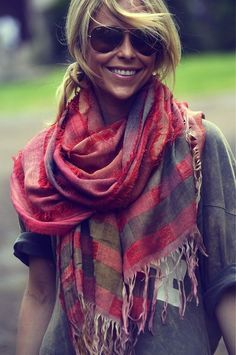 summer scarf - Wear a colorful scarf with simple grey top