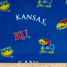 Cheer on the Jayhawks, your favorite college team with this collegiate fleece! With an anti-pill face this soft, warm and cozy fleece is perfect for throws, stadium blankets, seat cushions, hats, scarves, pillows, vests, pullovers and much more! This is a licensed product and not intended for commercial use.