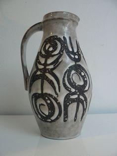 Vintage 1950s 60s West German pitcher vase by Jasba/ retro ceramic handled vase/ mid century modern vase on Etsy, $39.99