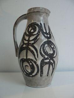 Vintage 1950s 60s West German pitcher vase by Jasba/ retro ceramic handled vase/ mid century modern vase on Etsy, $39.99