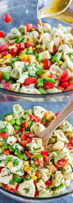 This easy vegetarian Garden Veggie Tortellini Pasta Salad is tossed with a flavorful homemade dressing and is sure to vanish quickly at your next party or BBQ! Even better? You can make it in advance!