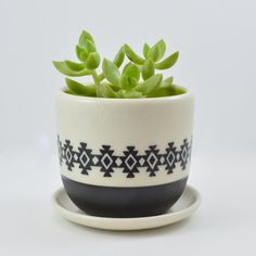 Wheel Thrown Porcelain Planter with Hand Painted Native American, Southwest Inspired Pattern and Chartreuse Green Inside