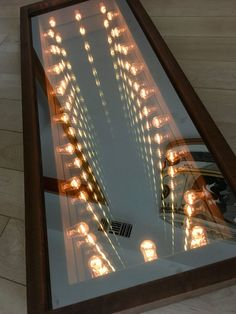 For Sale on - Stunning vintage wood infinity mirror. Great standalone piece of art. Perfect ambient piece of wall art that is a statement in any room. Country Wall Mirrors, Hall Mirrors, Mirror Art, Infinity Mirror Table, Infinite Mirror, Mirror Illusion, Infinity Lights, Lighting Concepts, Console