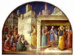 Fra Angelico ~ Stephanus viert de eucharistie en Stephanus voor de Raad van Priesters ~ ca. 1448 ~ Onderdeel van de cyclus Taferelen uit het leven van de H. Stephanus en Laurentius ~ Fresco ~ Cappella Nicolina, Vaticaan