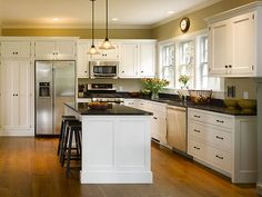 Thinking white cabinets and black granite...