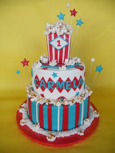 cute carnival themed cake - will convert to be 8 yo boys birthday cake