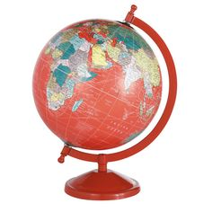 SCHOOL globe in red H 29cm