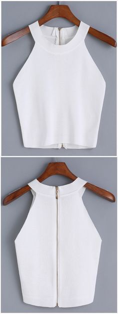 Sewing Tops Blusas Más - Online shopping for Halter Zipper Knit Cami Top from a great selection of women's fashion clothing Diy Fashion, Ideias Fashion, Fashion Outfits, Womens Fashion, Fashion Design, Fashion Trends, Summer Outfits, Casual Outfits, Cute Outfits