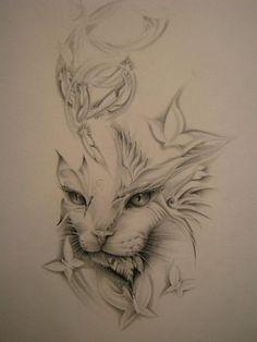 Cat Tattoo Designs Different Tattoos Tnt Image Tattooing Trendy Tattoos, Love Tattoos, Beautiful Tattoos, Body Art Tattoos, Beautiful Artwork, Tattoo Drawings, Tattoo Gato, Desenho Tattoo, Lion Tattoo