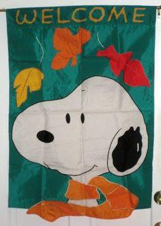"Flag Peanuts Snoopy ~WELCOME~ Fall Leaves Halloween  12/"" x 18/"" NIP NEW"